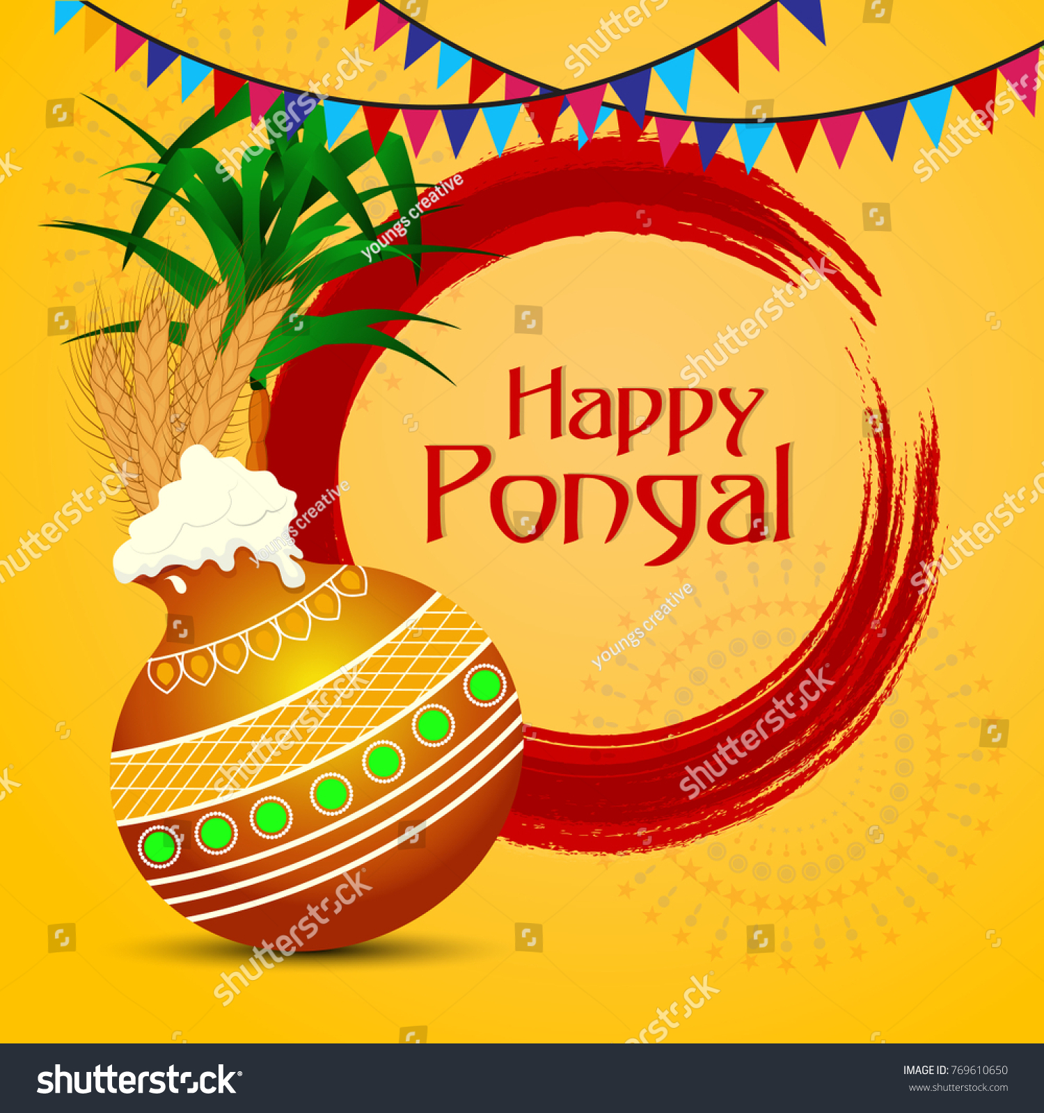 Pongal Thai Pongal Tamil Harvest Festival Stock Vector Royalty Free
