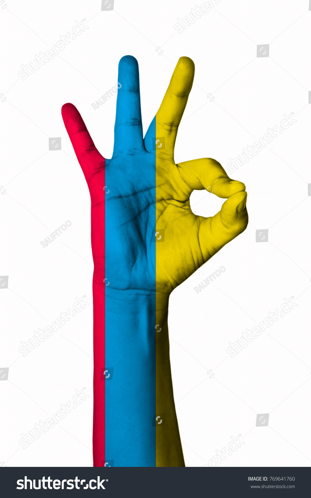 Hand Making Ok Sign Ecuador Flag Painted As Symbol Of Best Quality