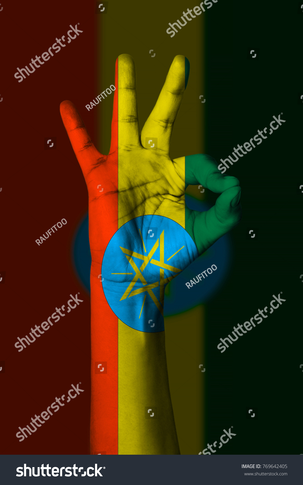 Hand Making Ok Sign Ethiopia Flag Painted As Symbol Of Best Quality
