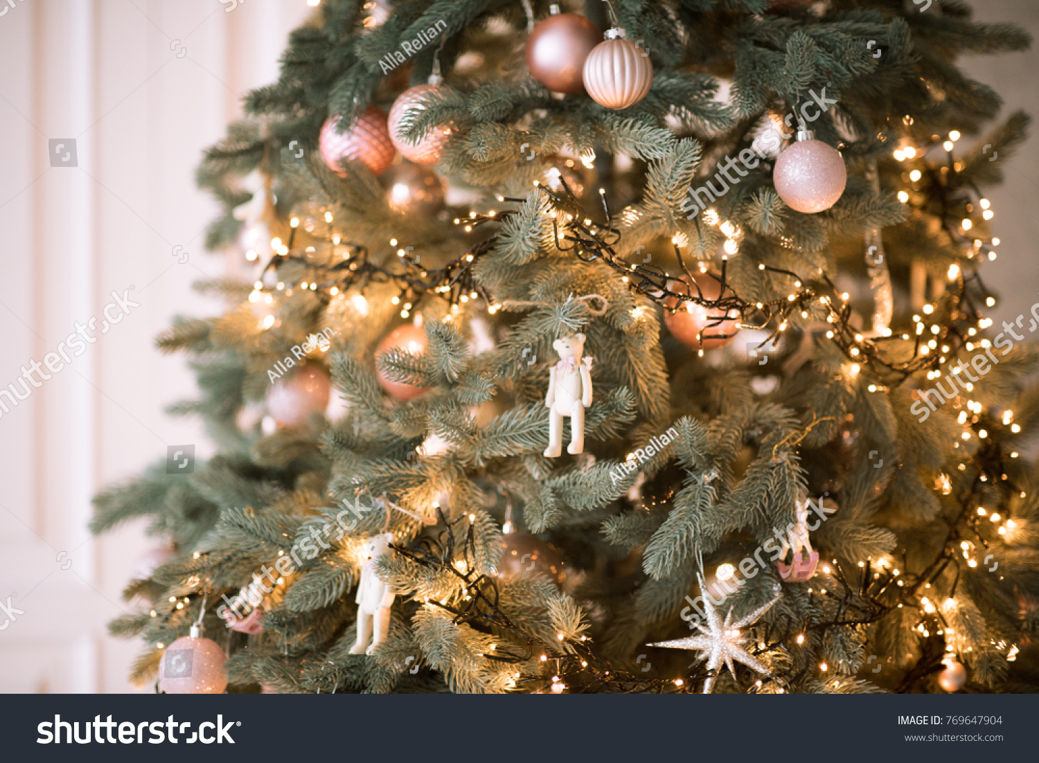 Christmas Tree Christmas Decorations Pink Gold Stock Photo Edit Now 769647904