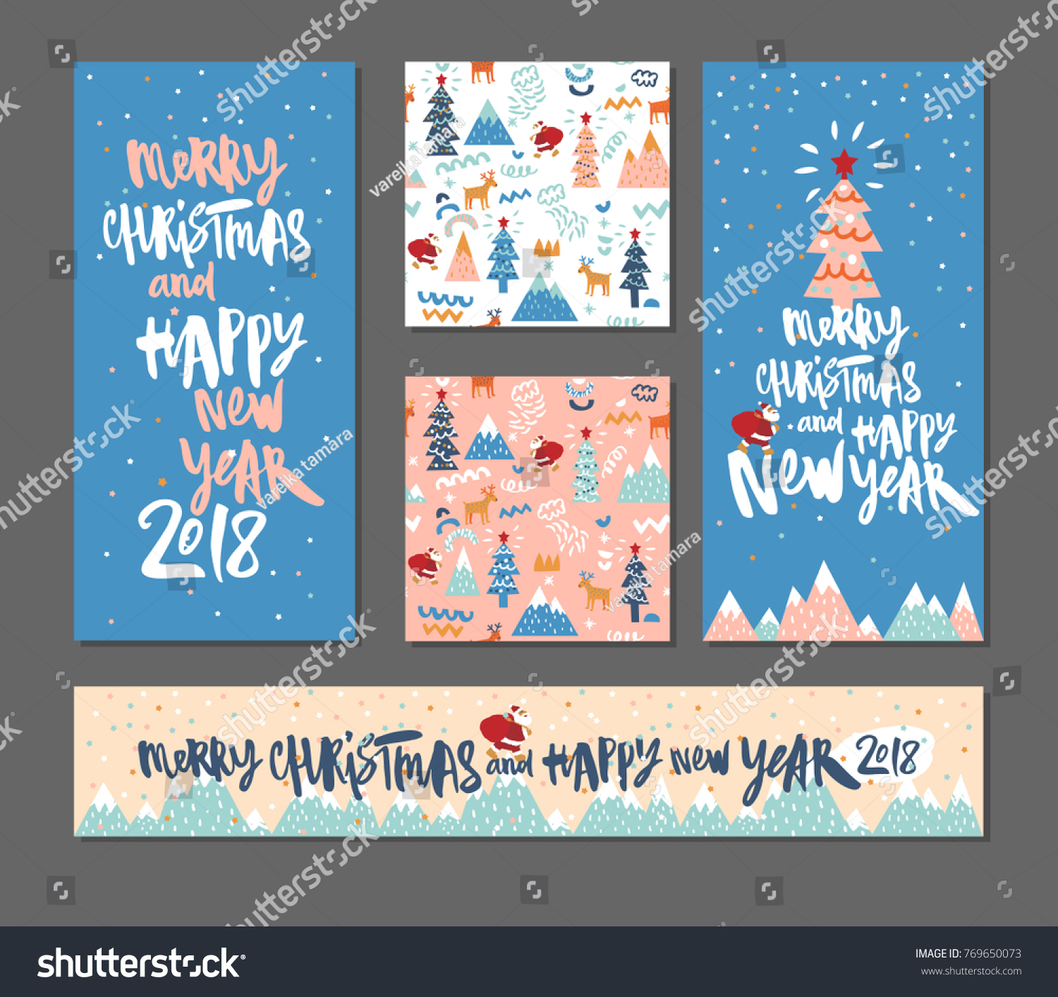 set of happy new year and merry christmas background with santa and christmas tree hipster