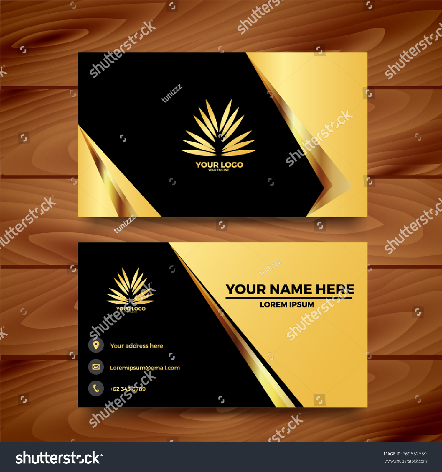 Black Gold Business Card Template Design Stock Vector 769652659 ...