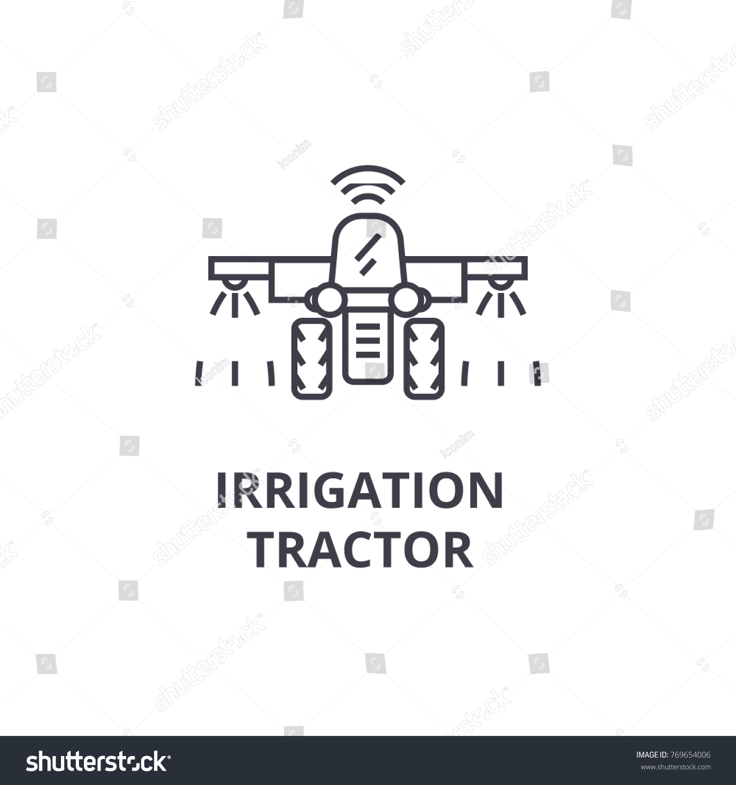 Irrigation Tractor Line Icon Outline Sign Stock Vector Royalty Free