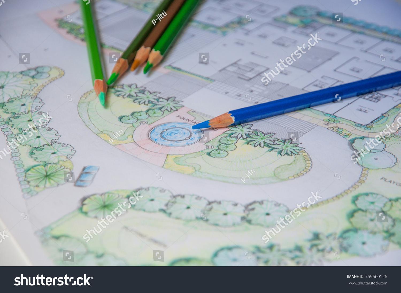 Layout Plan Home Landscape Design Garden Stock Photo (Safe to Use ...