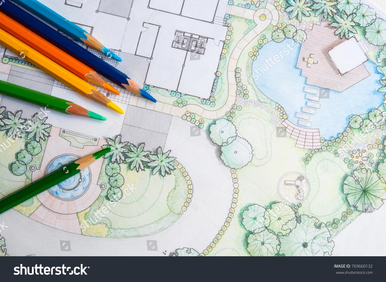 Layout Plan Home Landscape Design Garden Stock Photo (Royalty Free ...