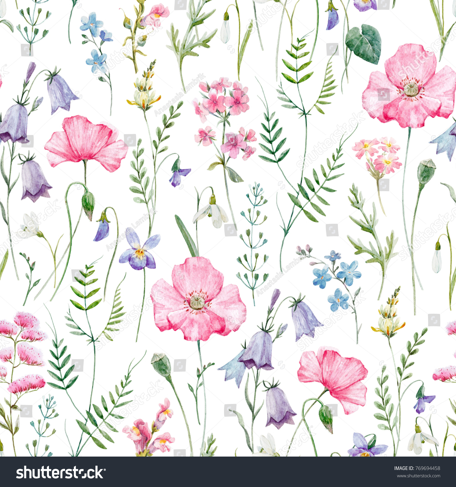 Watercolor Floral Pattern Delicate Flower Wallpaper Stock