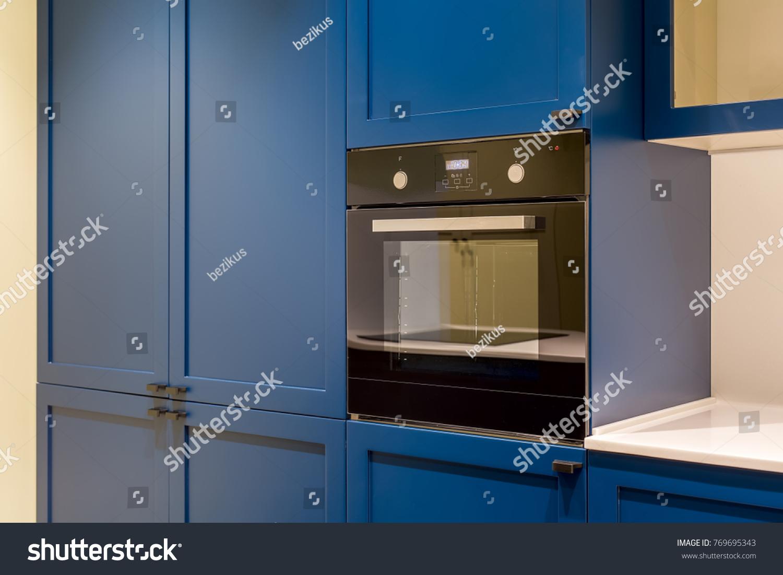 Dark Oven Which Builtin Blue Kitchen Stock Photo (Edit Now ...