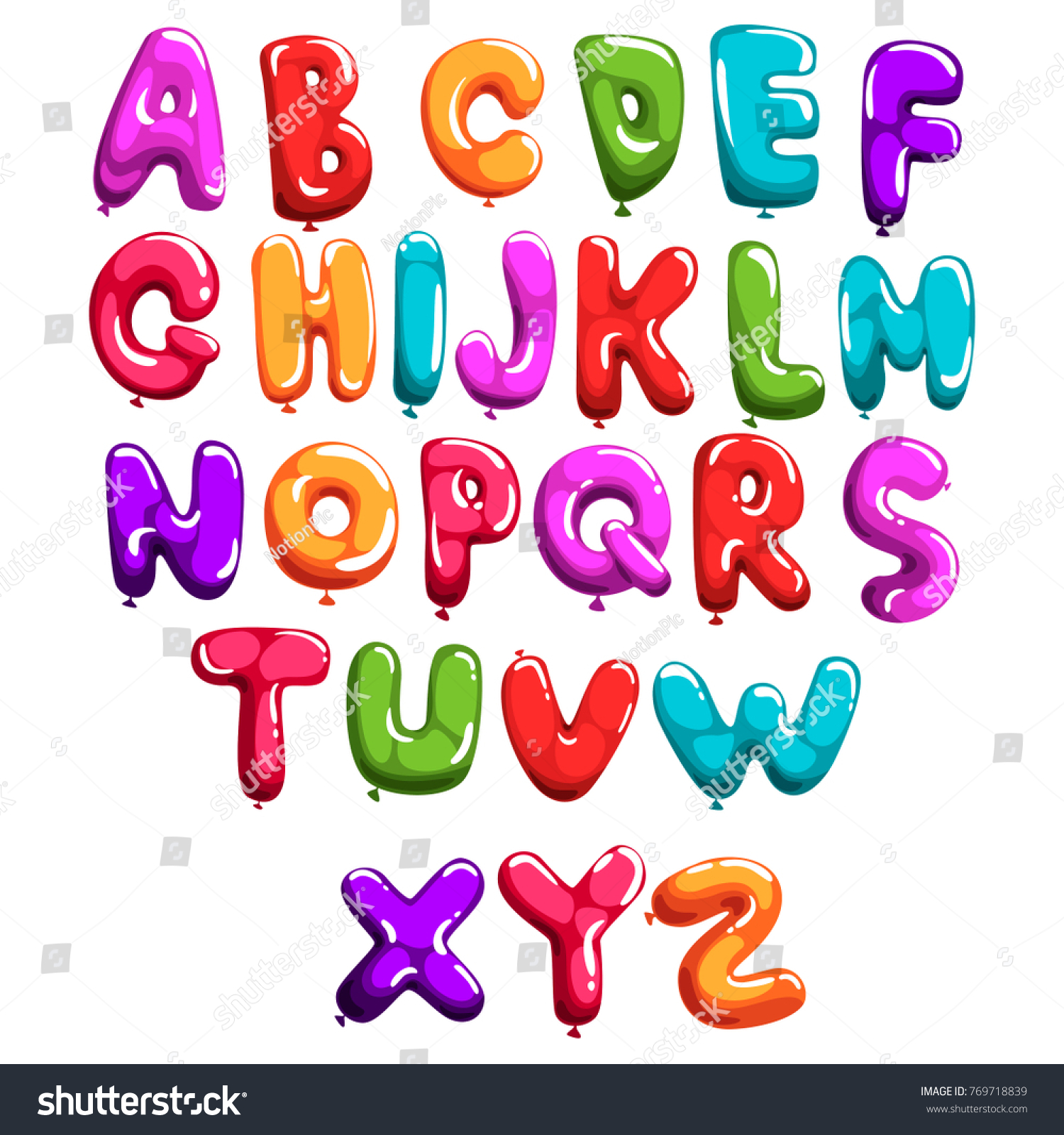 Set Of Colorful Font In Form Balloons Children S English Alphabet Letters From A