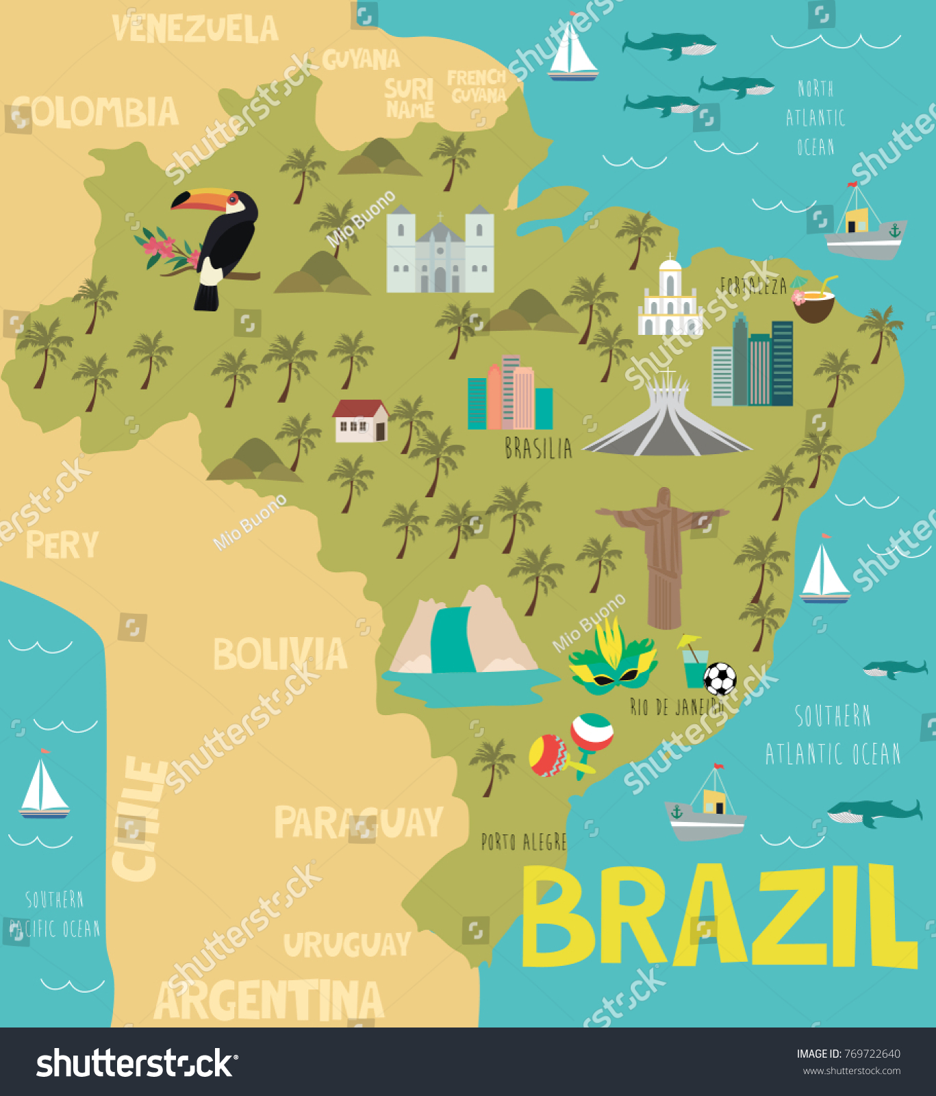 Illustration map brazil nature animals landmarks vector de illustration map of brazil with nature animals and landmarks editable vector illustration gumiabroncs Image collections