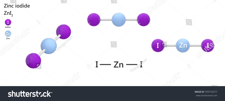Zinc Iodide Chemical Compound Zinc Iodine Stock Illustration
