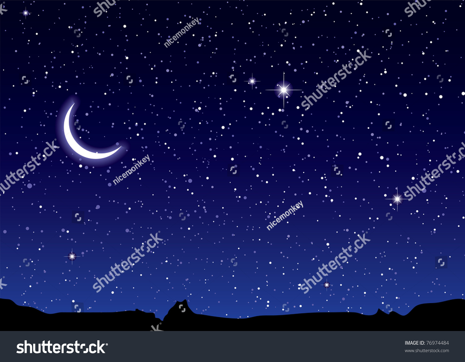 Space landscape silhouette mountains crescent moon stock for Space landscape