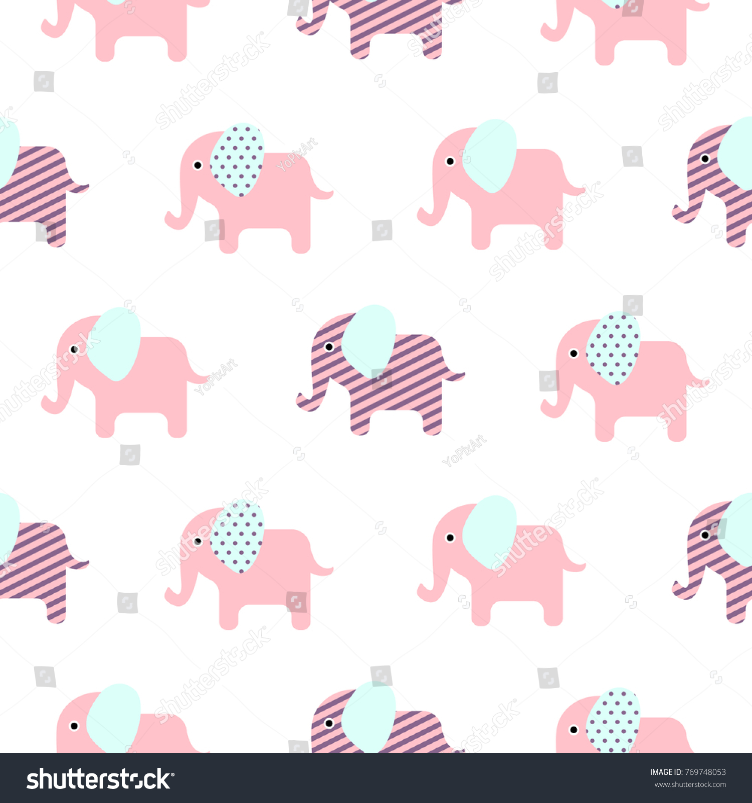 Top Wallpaper Cartoon Elephant - stock-vector-cute-elephant-cartoon-baby-seamless-vector-pattern-funny-kid-animal-repeat-background-for-textile-769748053  Best Photo Reference_699479  .jpg