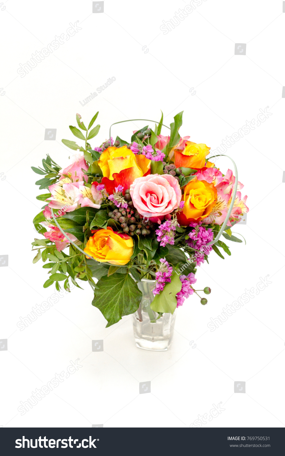 Wedding Bouquet Made Of Pink Orange Purple Roses And Flowers