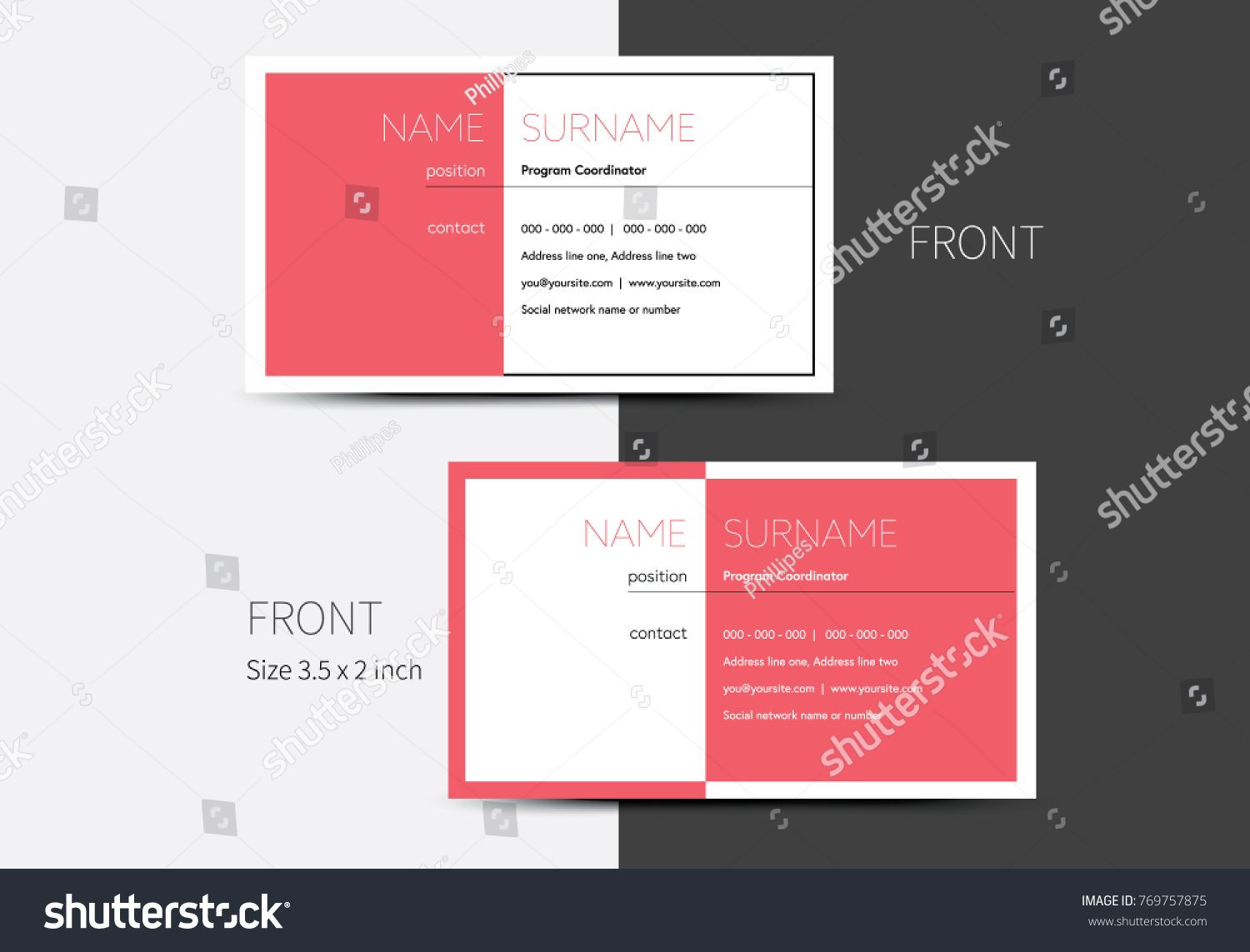 Business card layout two addresses gallery card design and card vector business card layout half colored stock vector 769757875 vector business card layout with half colored magicingreecefo Choice Image