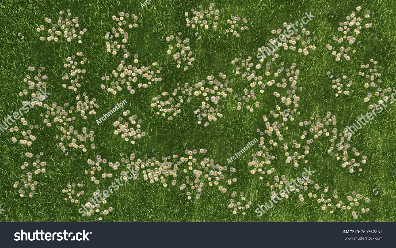 3 D Rendering Pattern Grass White Flowers Stock Illustration