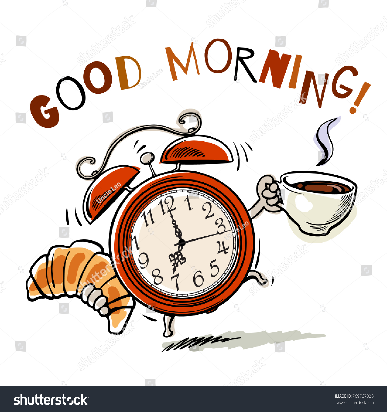 Cartoon Alarm Clock Cup Hot Coffee Stock Vektorgrafik Lizenzfrei
