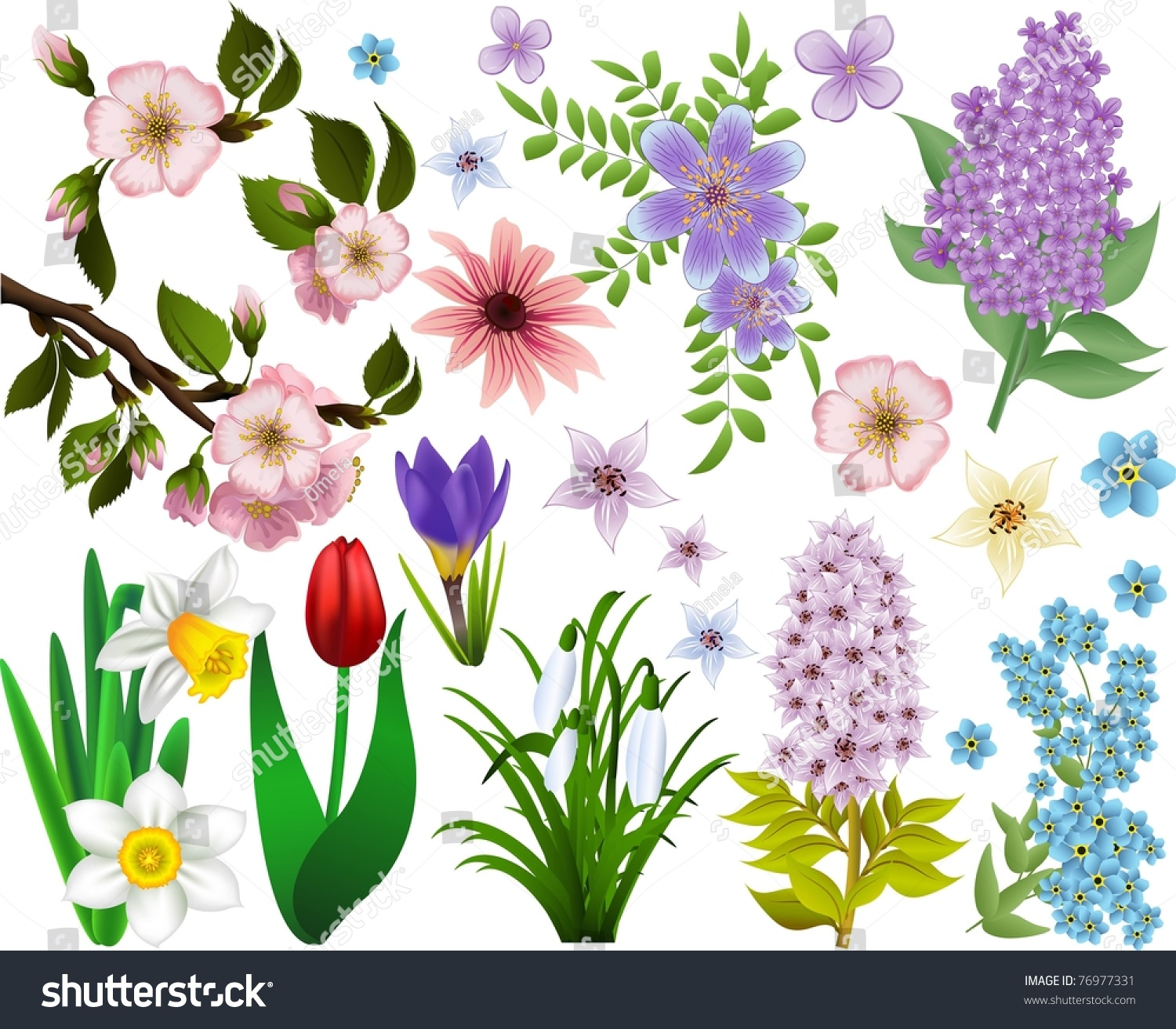 Set spring flowers all elements grouped stock vector 76977331 set of spring flowers all elements are grouped and easy to select mightylinksfo