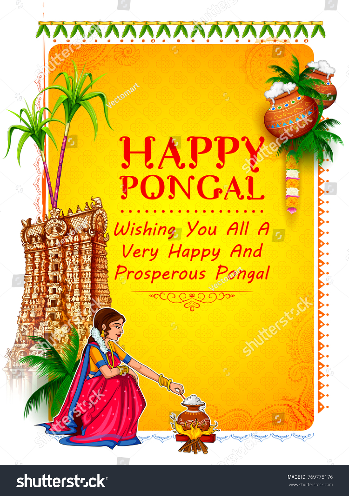 Illustration Happy Pongal Holiday Harvest Festival Stock Vector