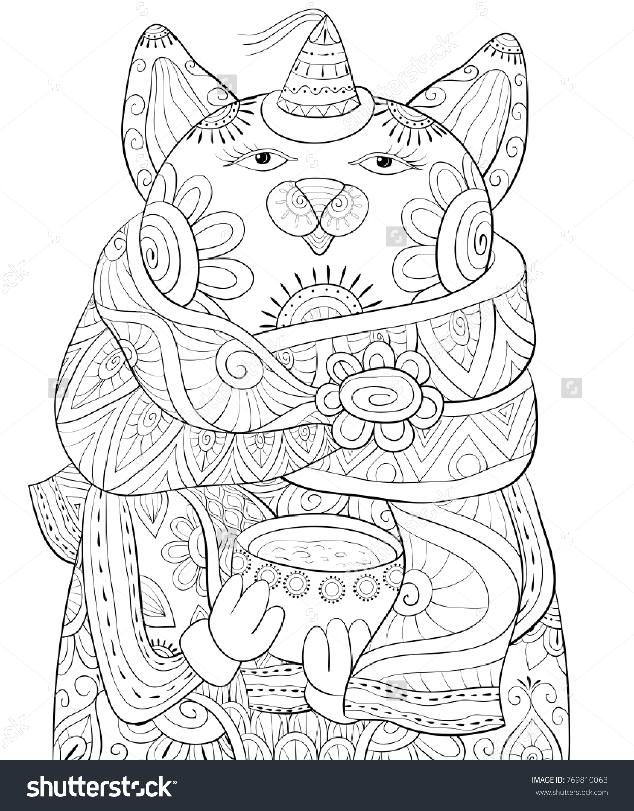 Adult Coloring Pagebook Cute Christmas Cat Stock Vector