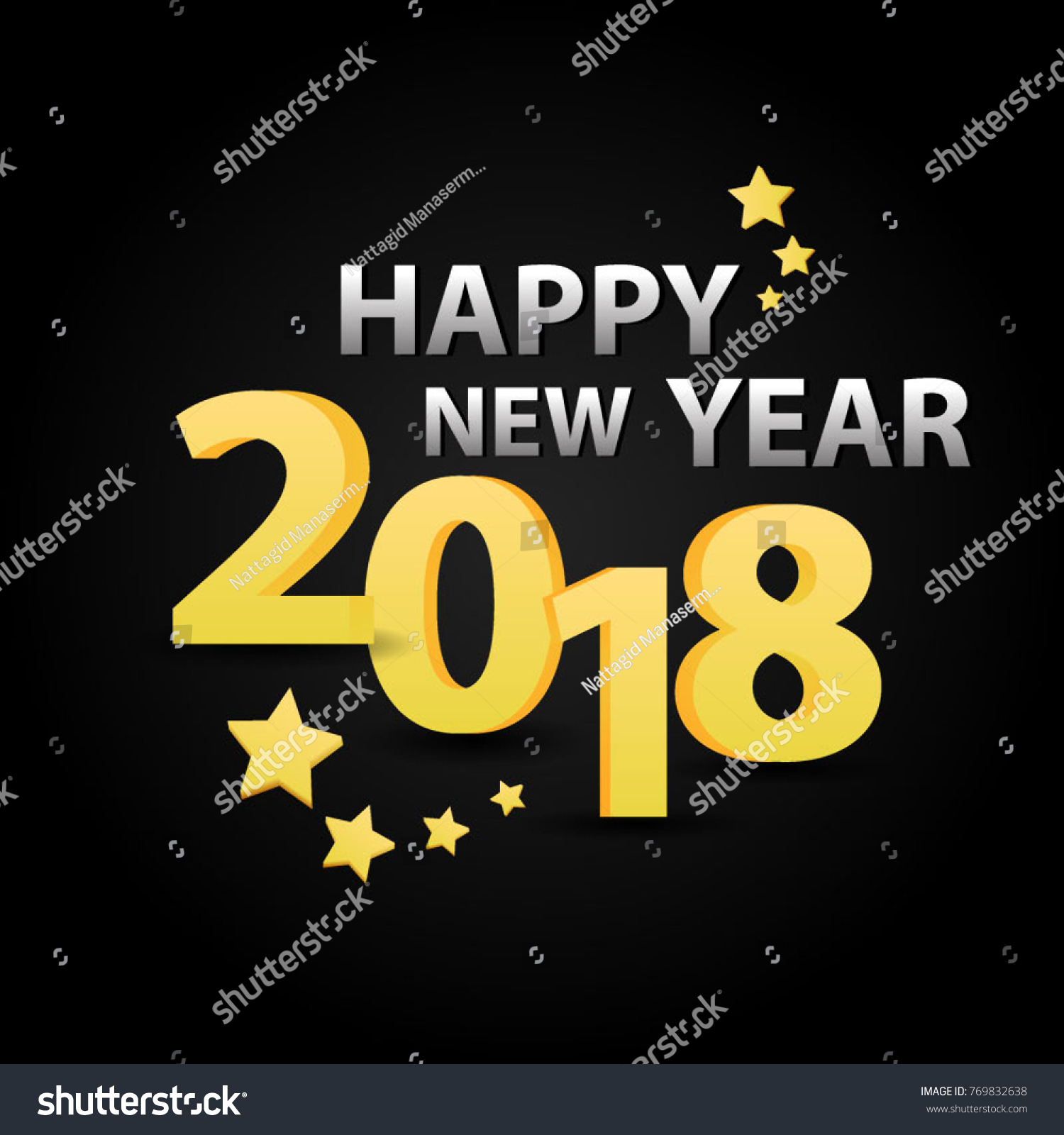happy new year 2018 background golden and silver on black design template of a