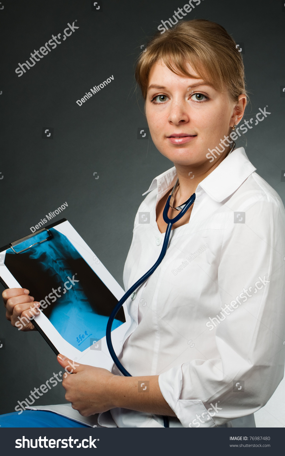 Portrait Doctor Medical Gown Considering Xray Stock Photo (Royalty ...