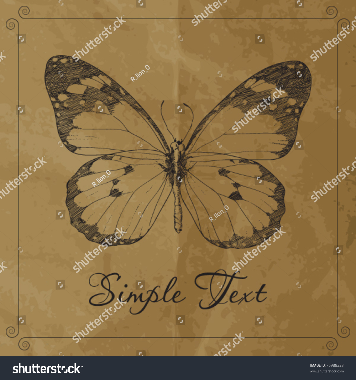 handdraw monarch butterfly on paper ackround stock vector 76988323