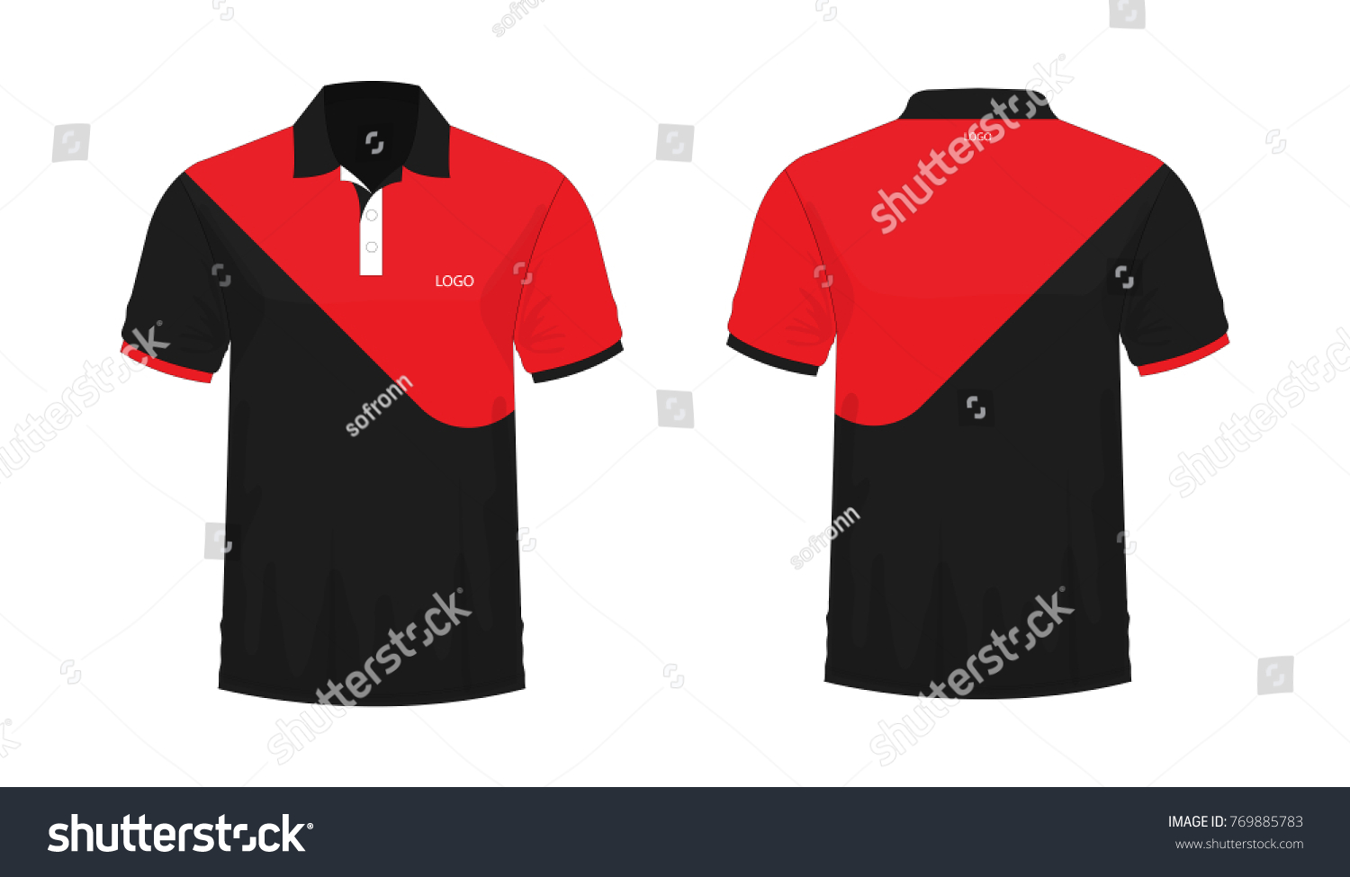 471b00864af2 T-shirt Polo red and black template for design on white background. Vector  illustration
