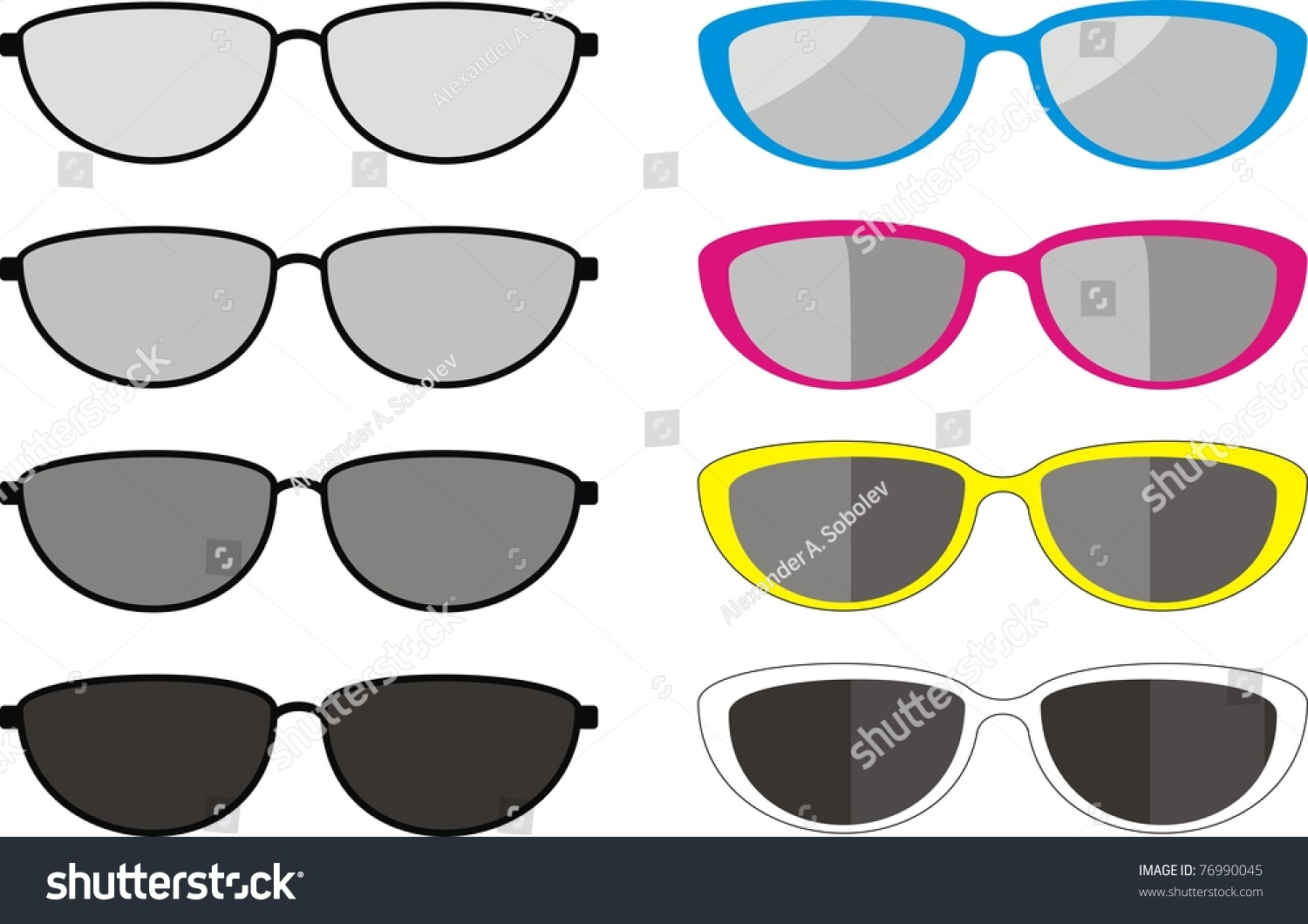 Isolated Illustration Collection Fashionable Sport Sunglasses Stock ...