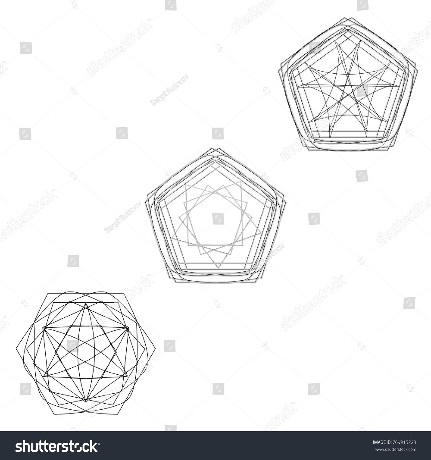Symbols Symmetrical Geometric Pattern Fractal Pentagram Stock Photo