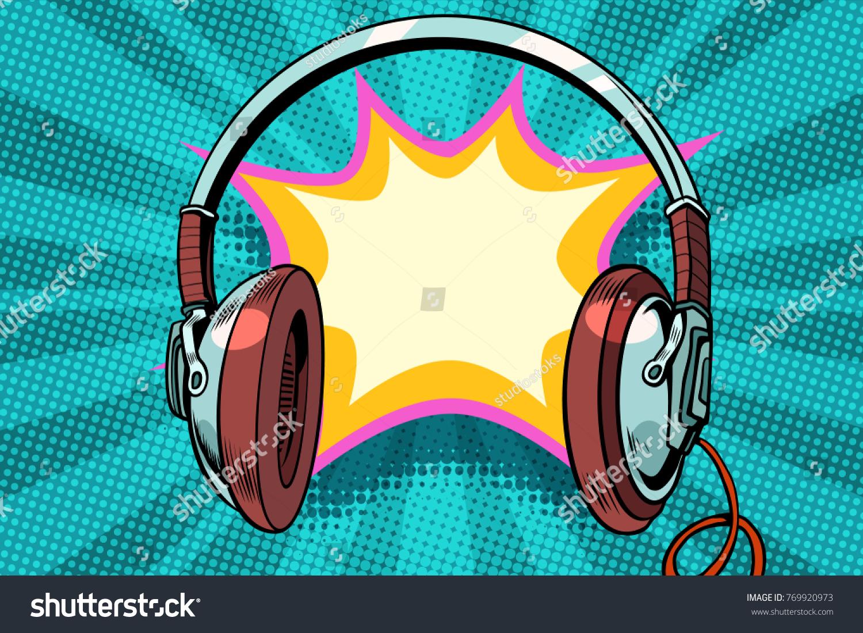 Headphones Comic Bubble Audio Pop Art Stock-Vektorgrafik 769920973 ...