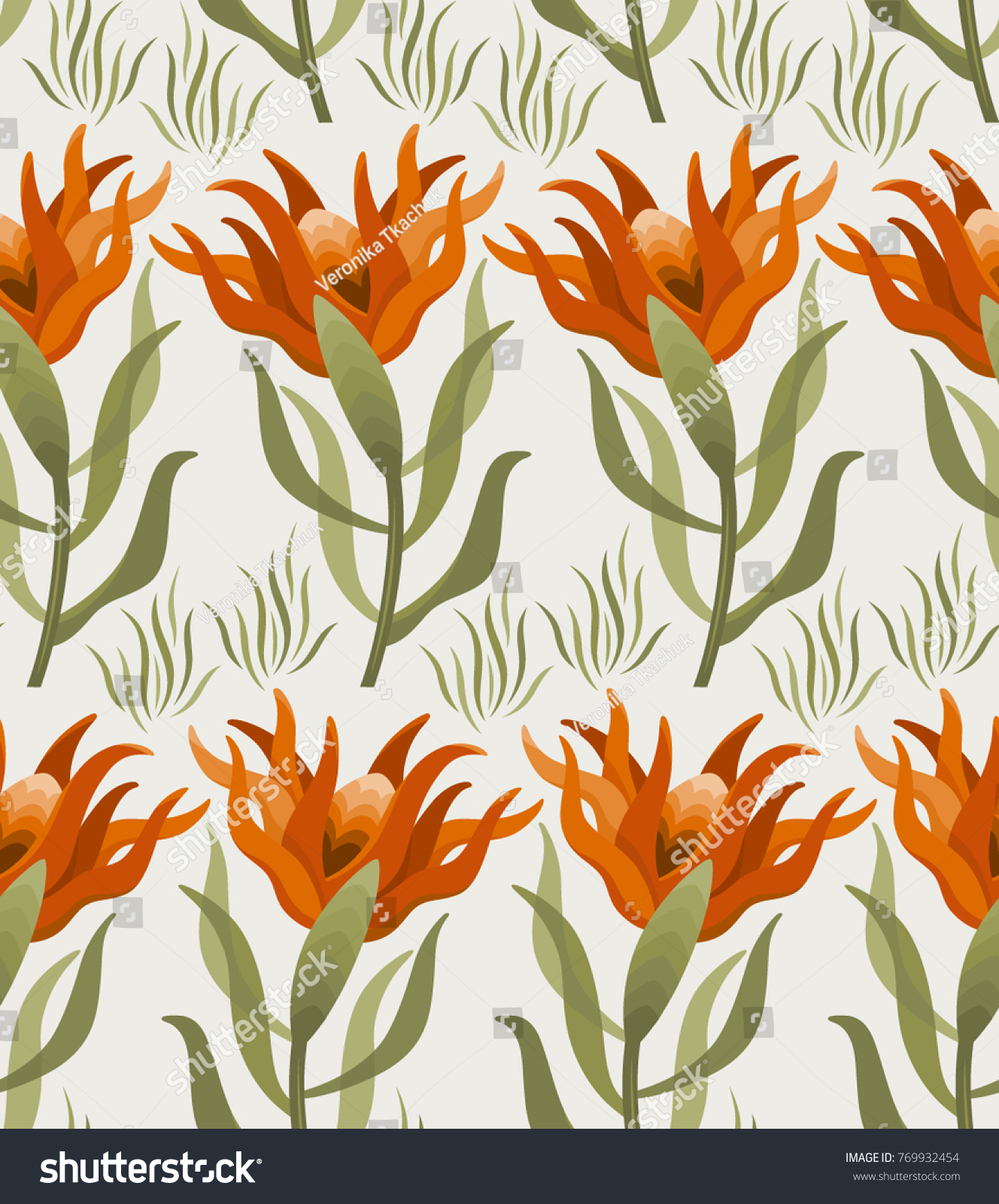 Abstract Floral Seamless Background Exotic Orange Flowers Hand Drawn Vector Illustration