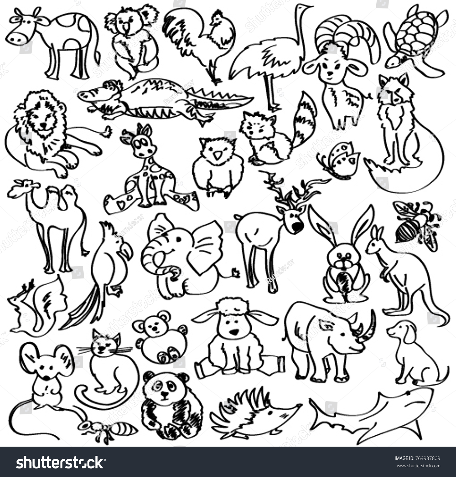 Doodles animals sketch animals black white stock vector