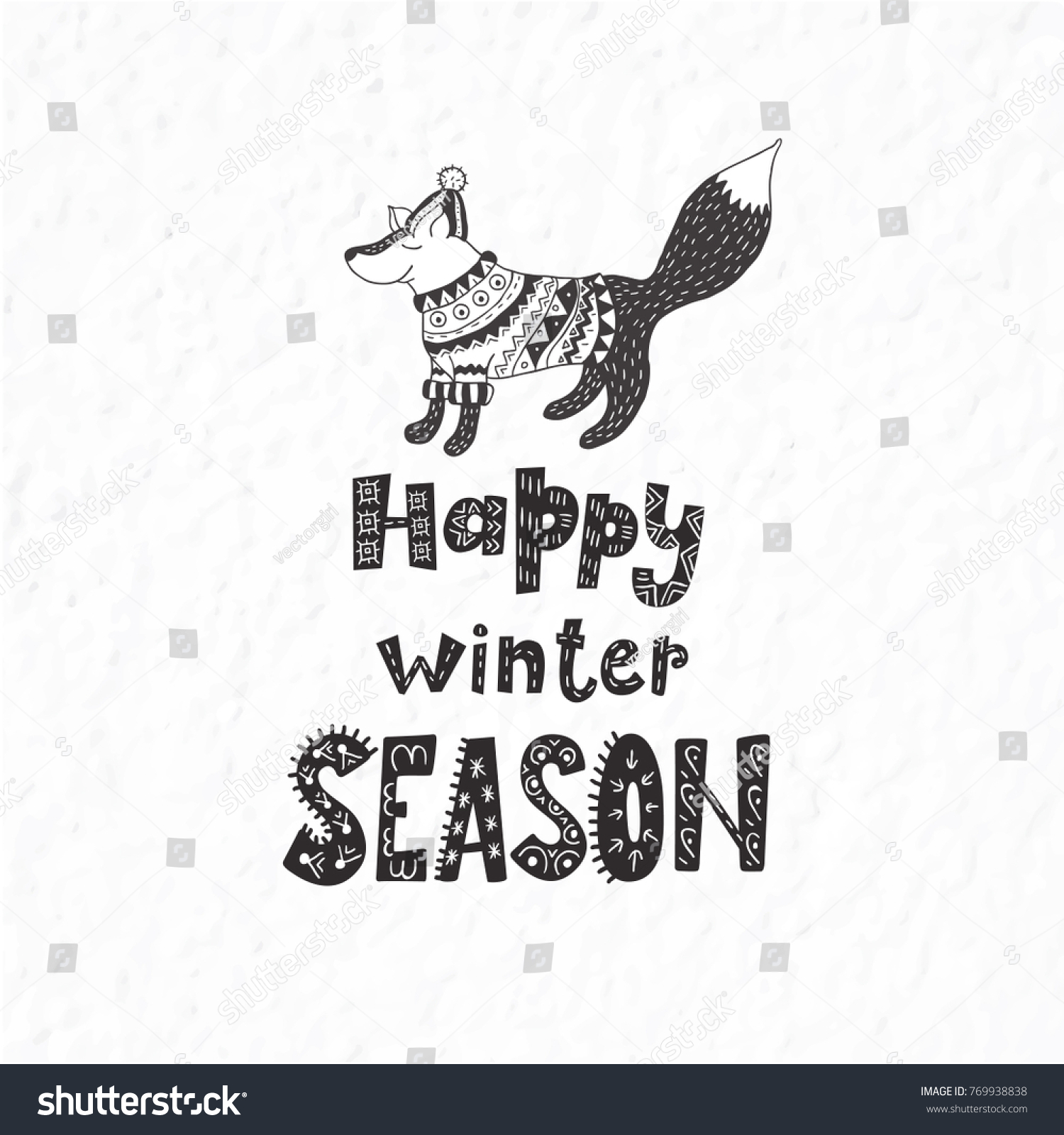 Funny Fox. Winter Postcard With Quote And Phrase. Hand Drawn Lettering With  Decorative Elements