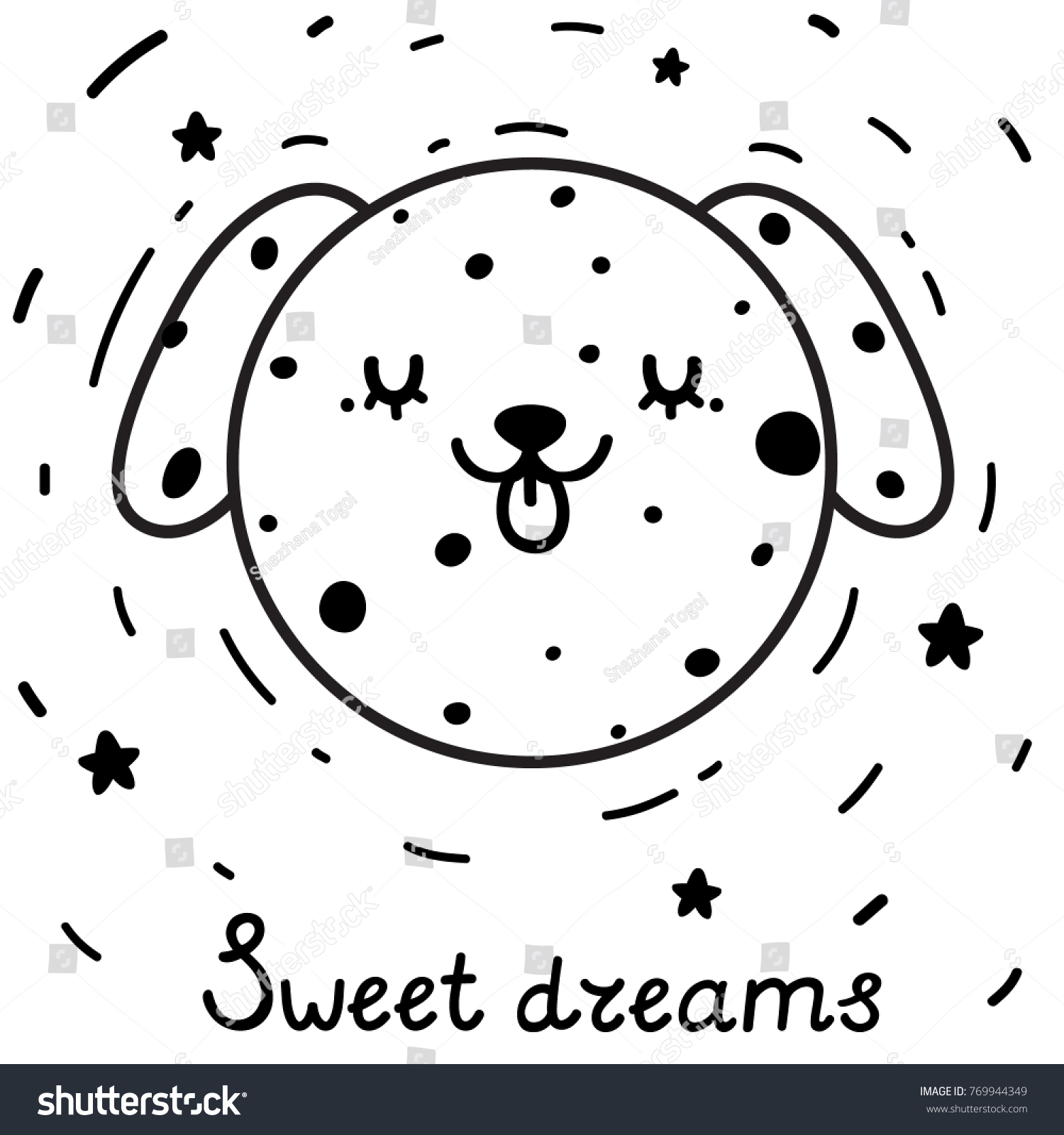 Coloring Cute Dog Moon Symbol New Stock Vector 769944349 Shutterstock