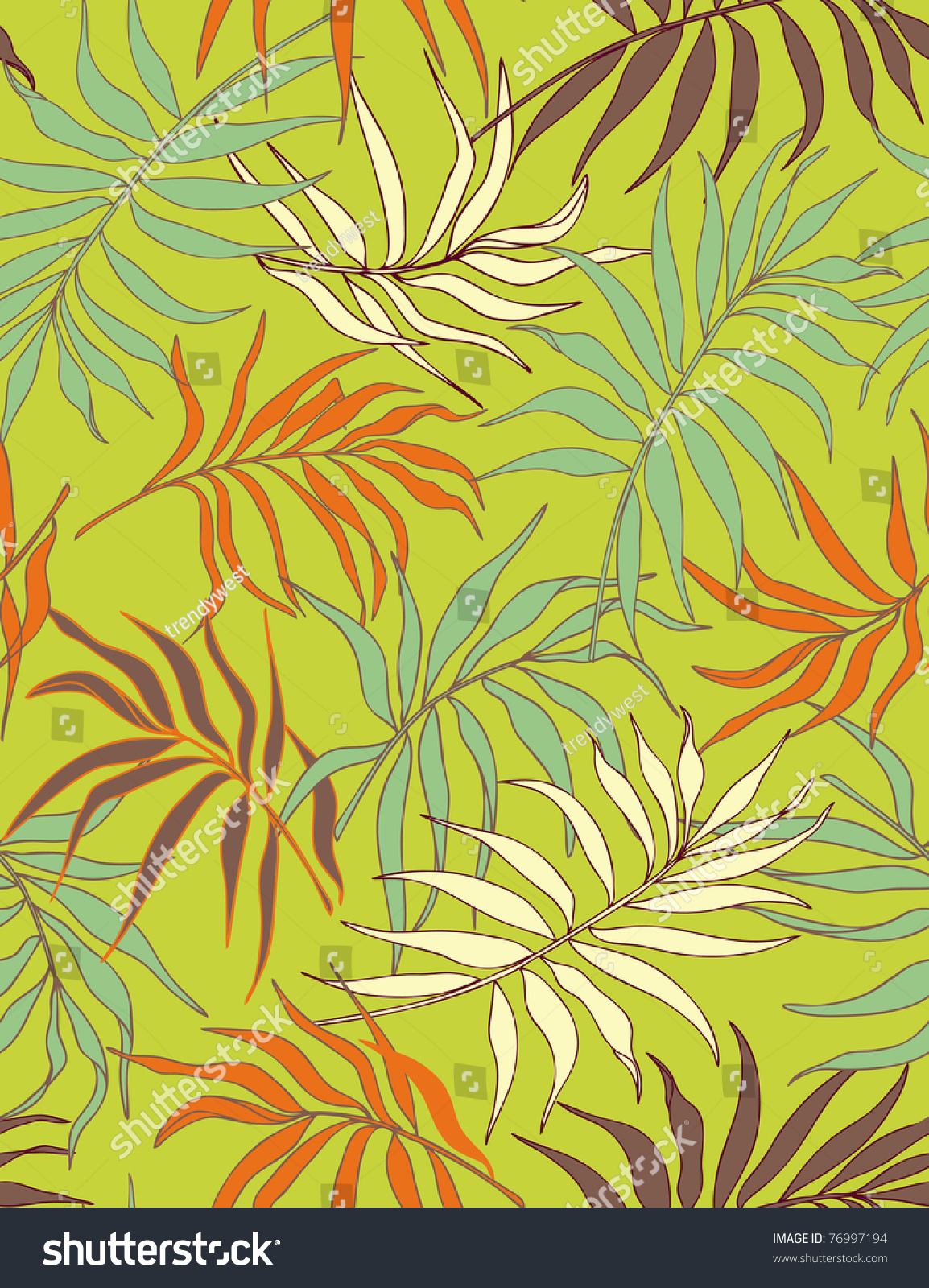 Palm Leaves Seamless Pattern Warm Color Stock Illustration 76997194 ...