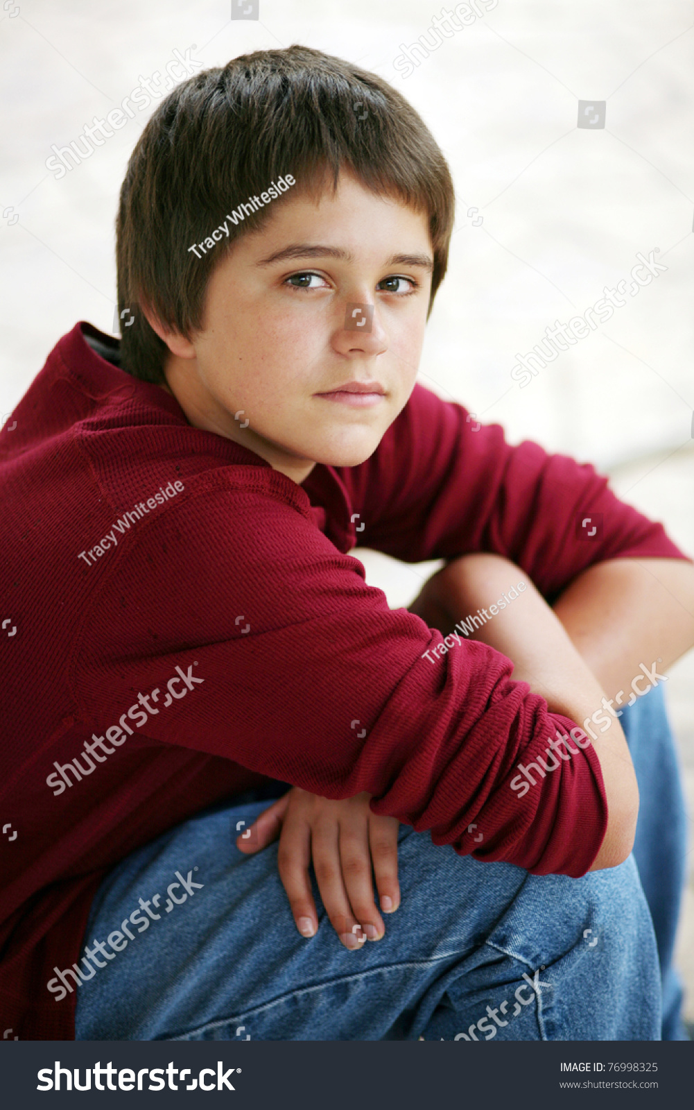 Cute Young Teen Boy Natural Light Stock Photo 76998325