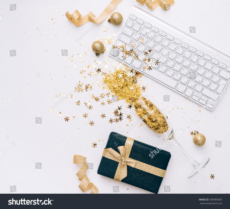 Keyboard Champagne Glasses Golden Confetti Office Stock Photo Edit