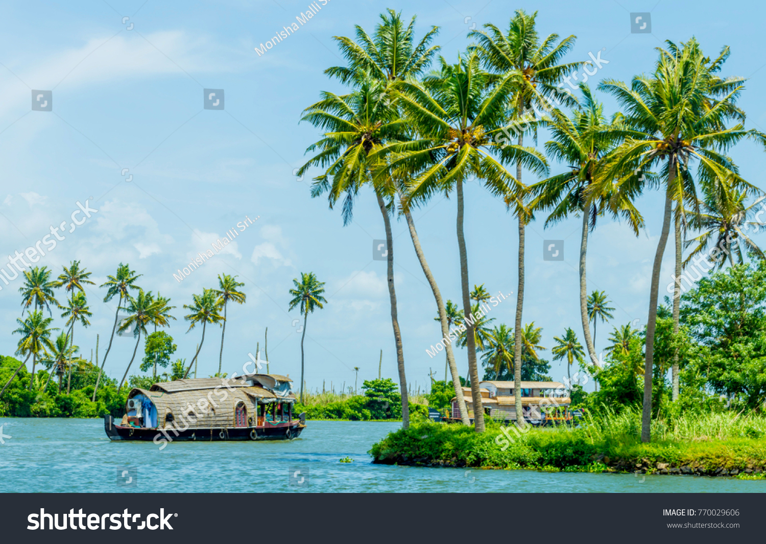 Houseboat on Kerala backwaters, in Alleppey, Kerala, India #770029606