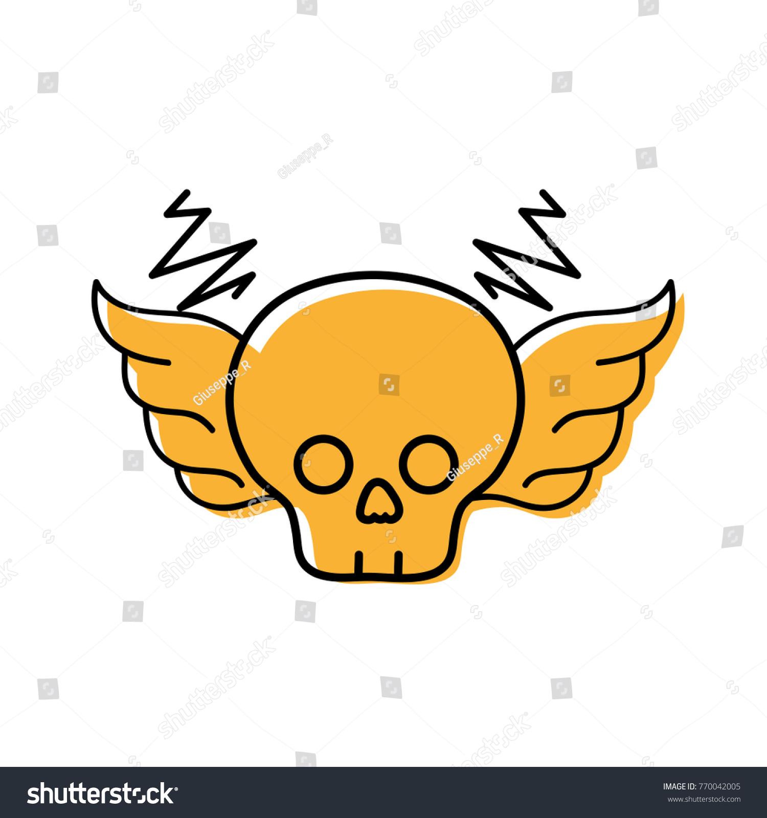 Color Skull Wings Rock Art Symbol Stock Vector 770042005 Shutterstock