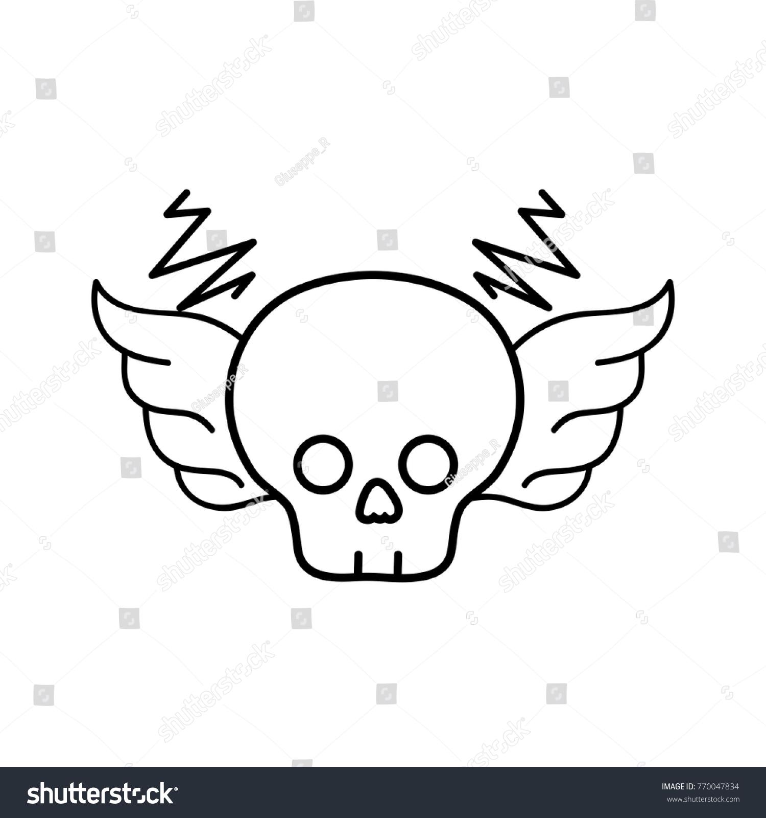 Line Skull Wings Rock Art Symbol Stock Photo Photo Vector