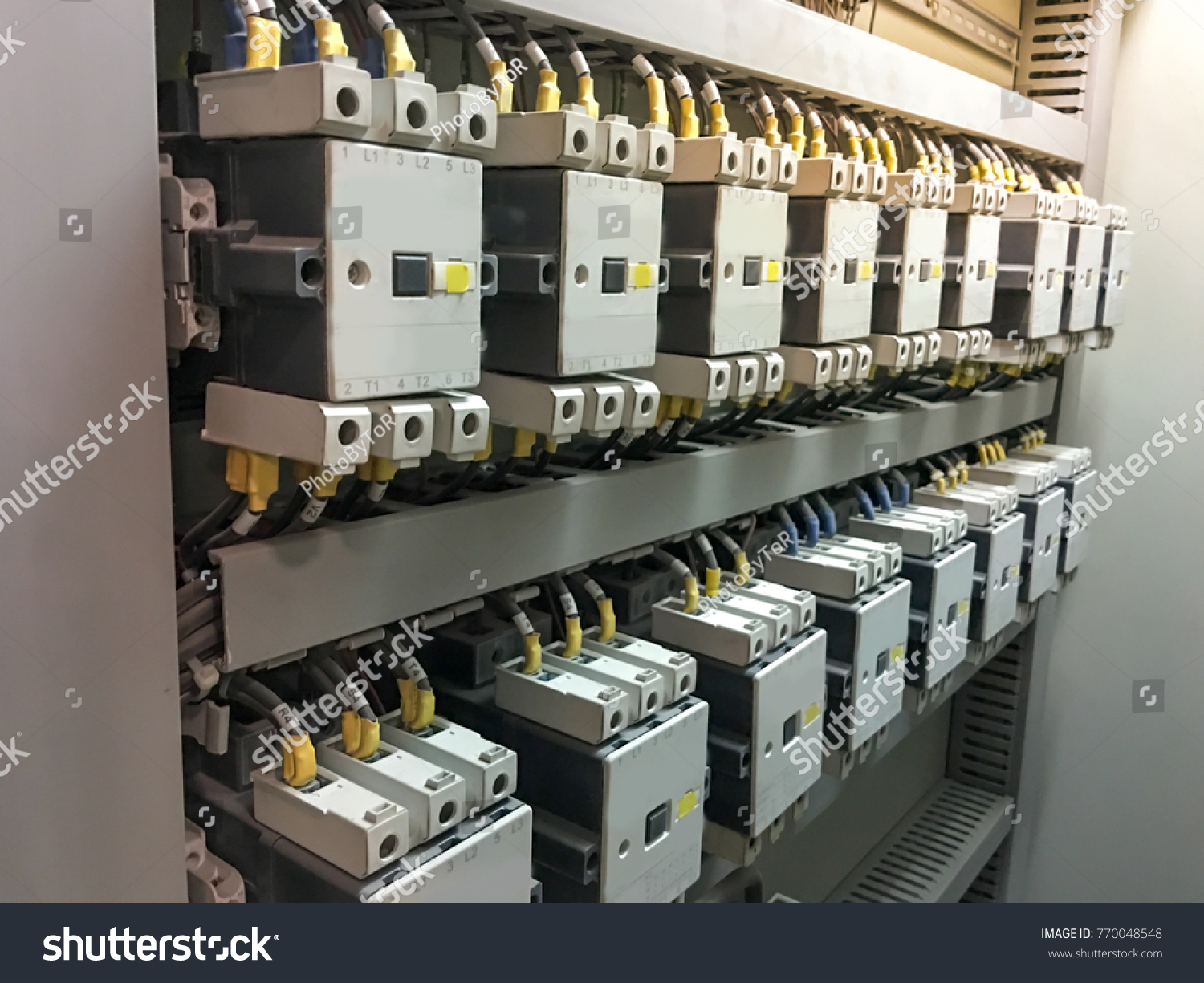 Close Main Electrical Circuit Breaker Box Stock Photo Edit Now Panel Wiring Up Of In Many And Jumping Connection On