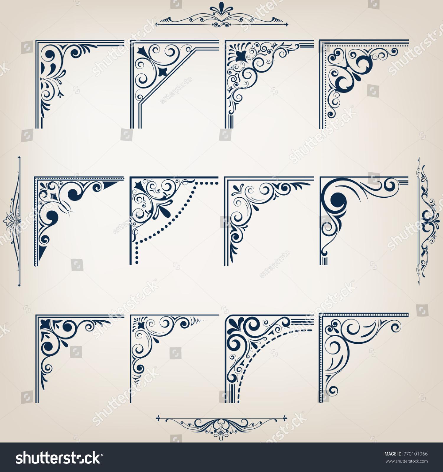 Set Corners Design Elements Vintage Frame Stock Vector Royalty Free