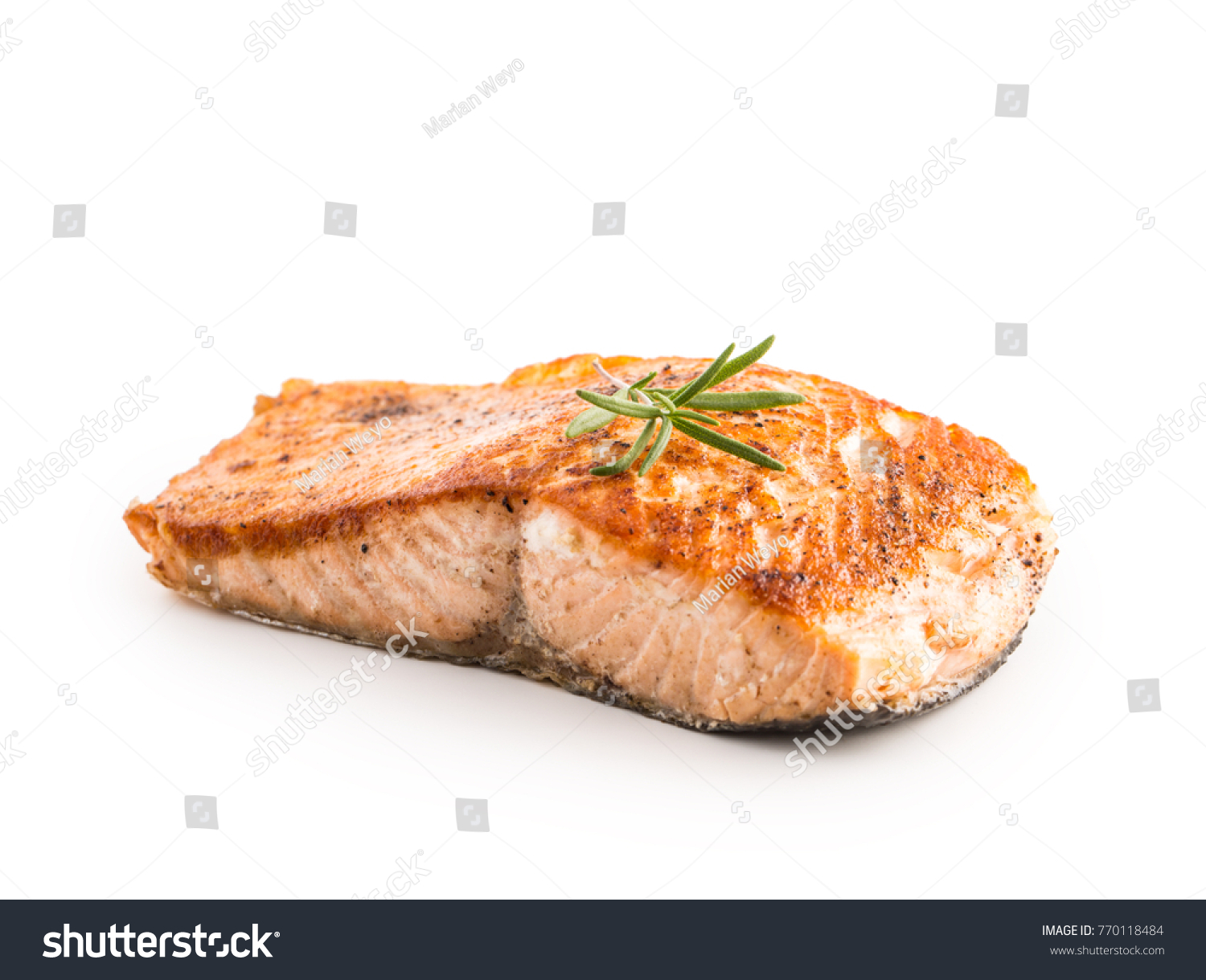 Salmon roast steak isolated on white background.