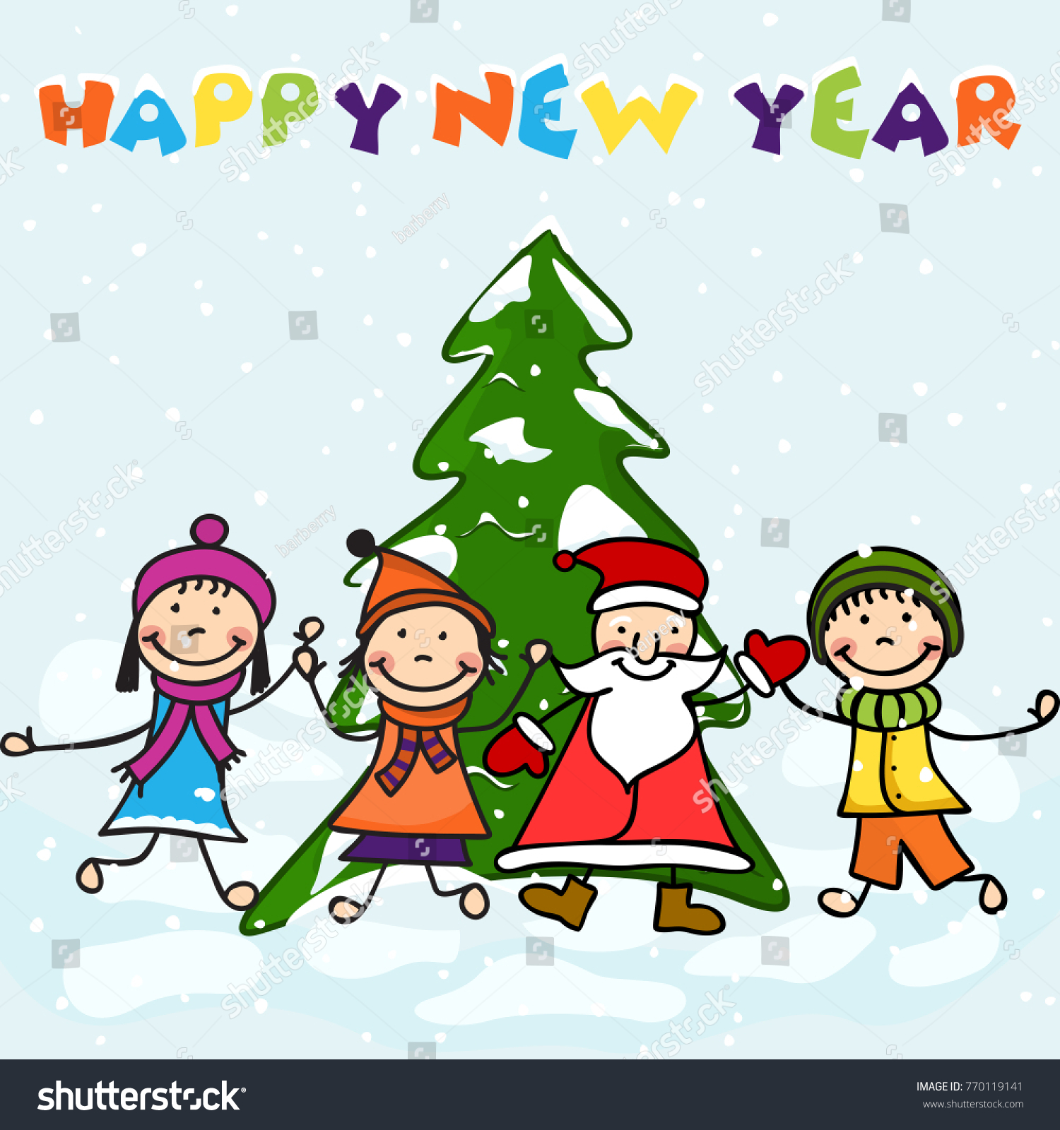 happy new year 2018 celebration background with smiling kids with santa claus