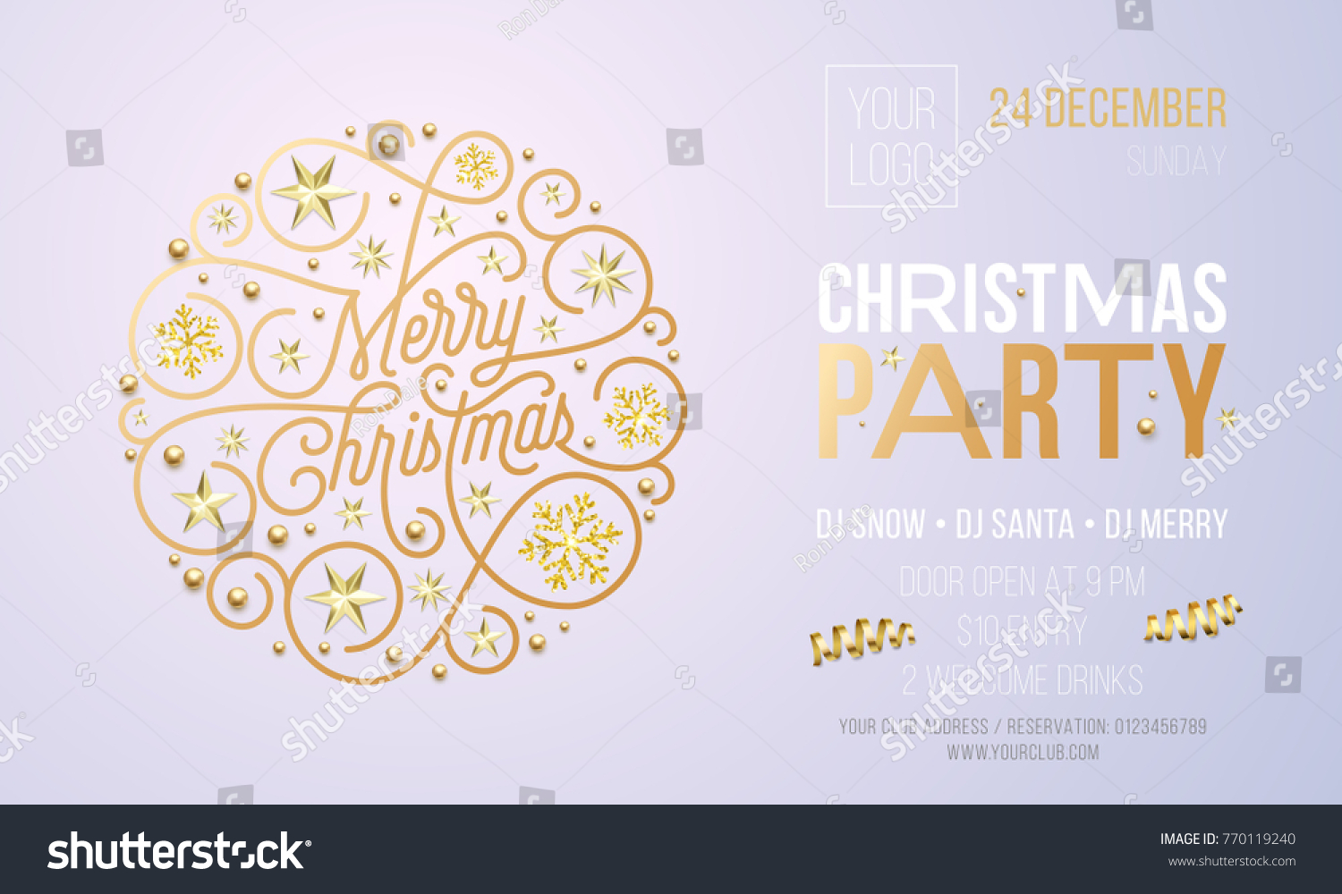 Christmas Party Invitation Card Poster Golden Stock Vector ...