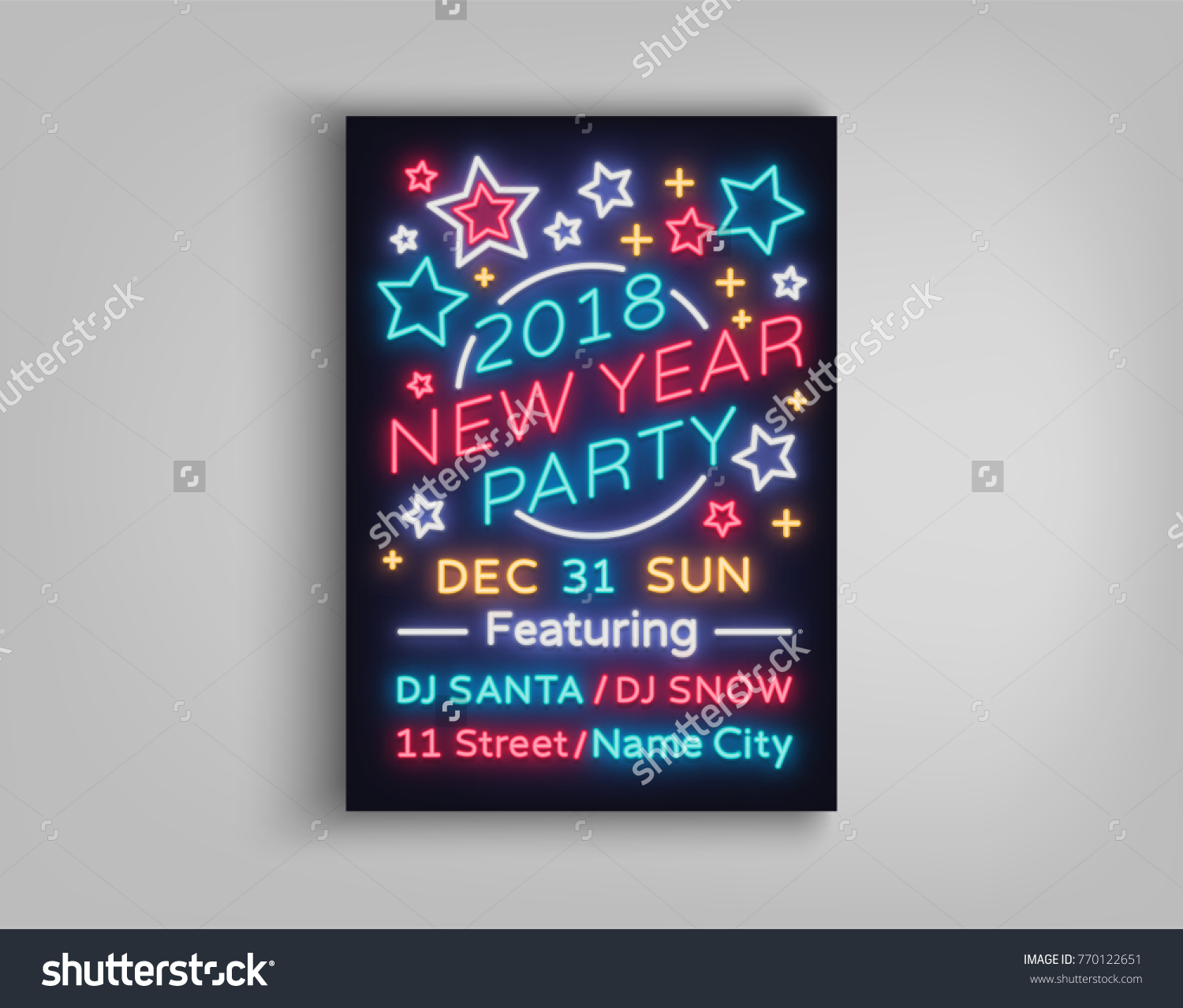 new year 2018 party poster in neon style happy new year invitation card for