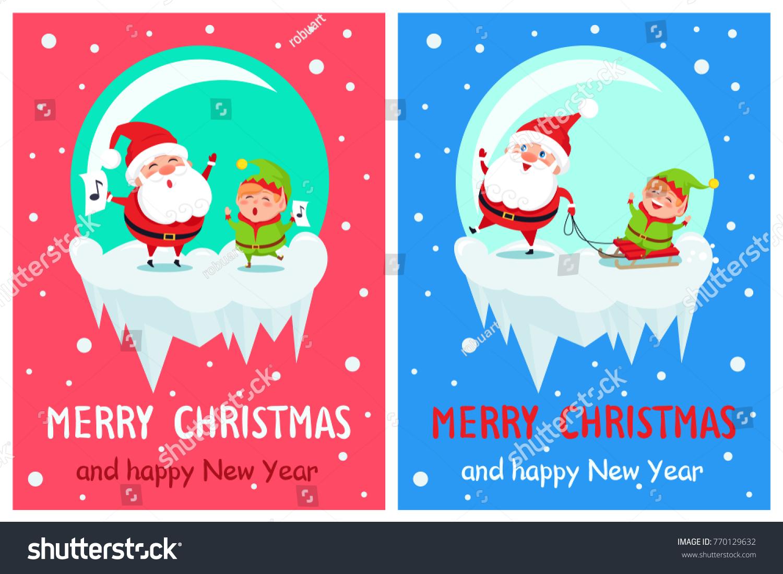 Merry Christmas Happy New Year Greetings Stock Photo Photo Vector