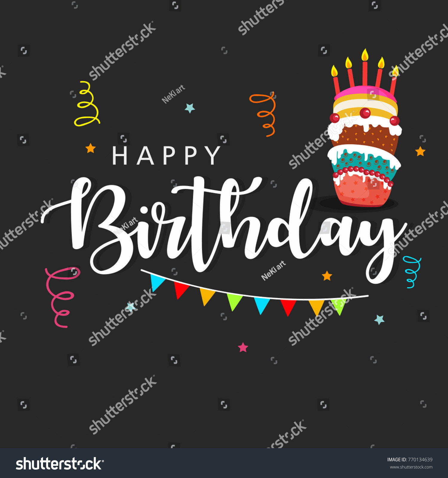 Happy birthday wishing greeting card decorated stock vector happy birthday wishing greeting card with decorated background with elements like realistic balloons gift boxes kristyandbryce Images
