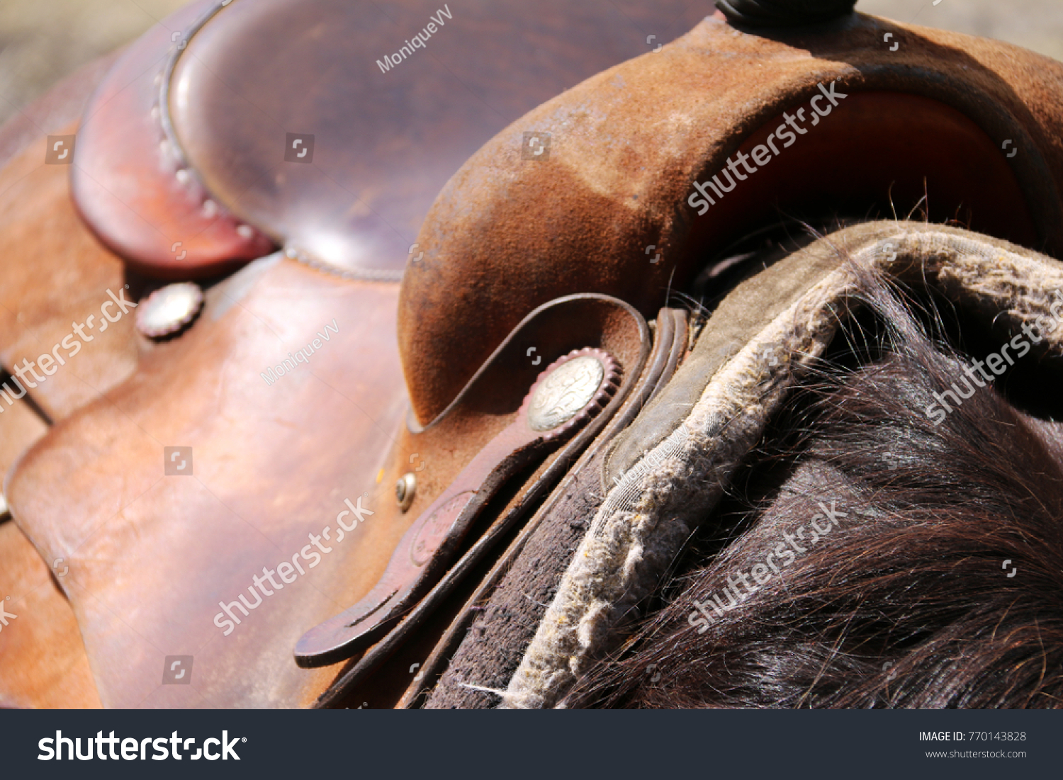 Close Brown Leather Western Saddle On Stock Photo Edit Now 770143828
