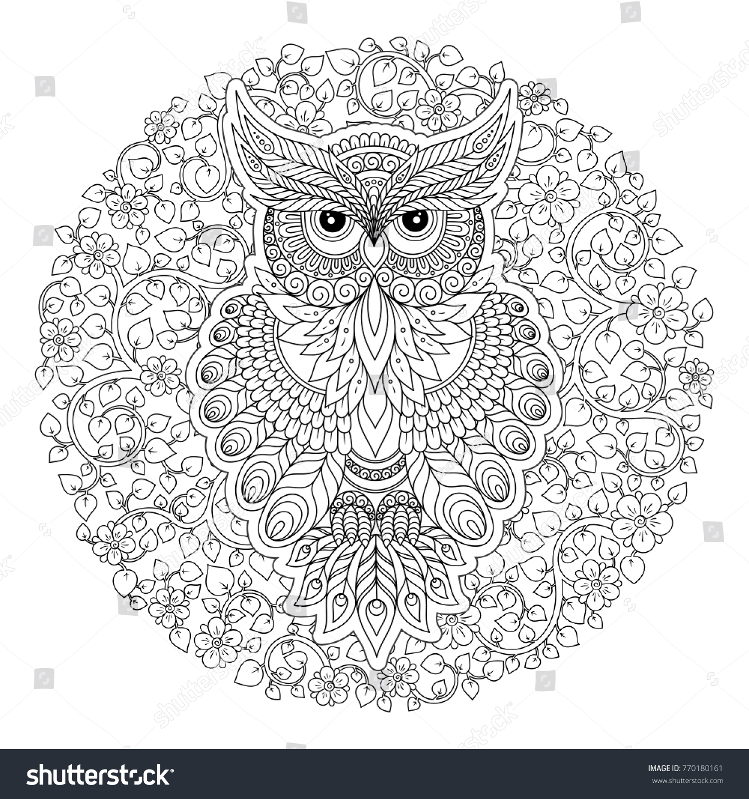 Decorative Owl Adult Antistress Coloring Page Stock Illustration ...